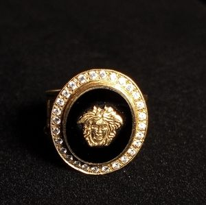 Real 14k gold and black onyx CZ Versace ring